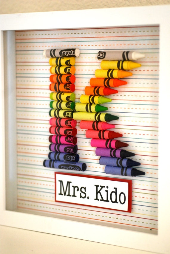 Teacher Gift Customized Crayon Monogram Frame with your choice