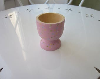 Powder Pink egg, hand painted wooden egg Cup