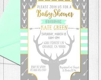 Tribal Baby Shower Invitation, Baby Boy Shower Invitation, Mint, Gold, Gray, Deer Head Invitation, Deer Baby Shower, Antlers, Little Buck