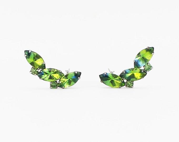 Green Rhinestone Ear Climbers - Vintage 1960s Green Rhinestone Clip On Earrings