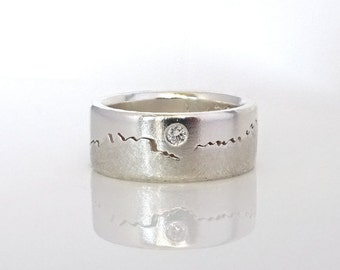 Diamond Mountain Ring, 8mm band, Solitaire Diamond, Handcrafted, your choice of Sterling Silver, Palladium, Gold or Platinum Wedding Band