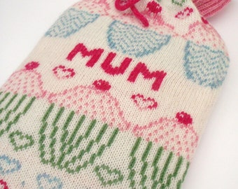 Personalised Cup Cake/ Fairy Cake Knitted Hot Water Bottle Cover/ Cosy