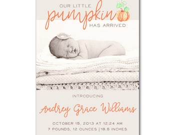 Pumpkin Birth Announcement - Custom Pumpkin Halloween Fall Autumn Baby Announcement - digital file