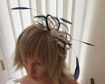 White and navy  sinamay fascinator, hair accessories, can be custom made to match your outfit