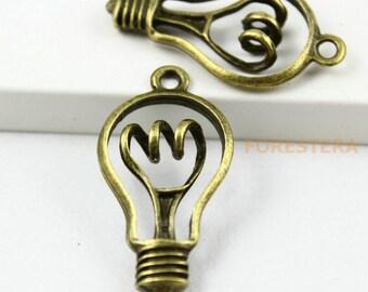 10Pcs  Antique Brass light bulb Charms light bulb Pendants 29x18mm (PND117)