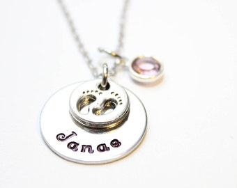 new mother necklace, new mother name necklace, new mother name and birthstone necklace, new mother jewelry, new mother footprint necklace