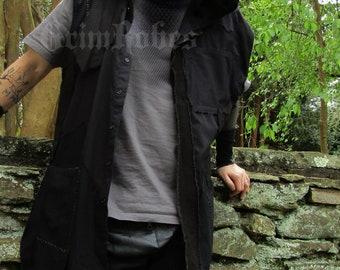 Destroyed Hooded Battle Vest Dystopian Gothic Crust Men's long loose fit XL