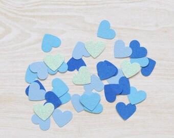 Blue Heart Confetti, Wedding confetti, handmade confetti, birthday party, table scatters, wedding decor, 1st birthday party, boys party