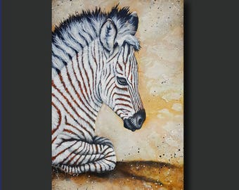 ORIGINAL Paintings -- Baby Zebra Painting, African Animal, Animal Art, Safari - Savanna Baby by Britt Hallowell