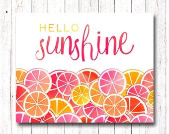 Hello Sunshine Print, Home Decor, Summer Print, Fruit Print, Pink and Gold, Home Print, Citrus Watercolor, Sunshine Wall Art, Kitchen Print