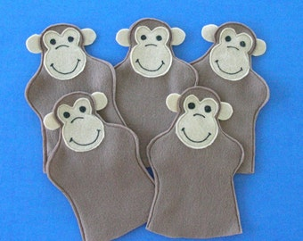 Five Felt Monkey Puppets / Five Little Monkeys / Monkey Party Favors / Felt Monkey Puppets