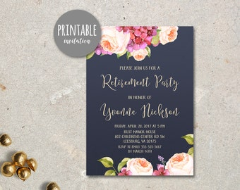 Floral Retirement Invitation, Retirement Party Invitation, Navy Retirement Invitation, Printable Retirement Invitation, Peony hydrangea