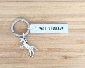 hand stamped keychain   i poop rainbows