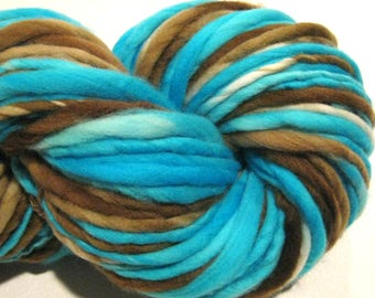 Handspun Yarn Robin's Nest 46 yards hand dyed merino wool blue yarn brown yarn knitting supplies crochet supplies doll hair