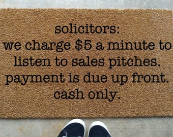 Solicitors Be Warned Doormat Antisocial Welcome Mat No Soliciting Sign