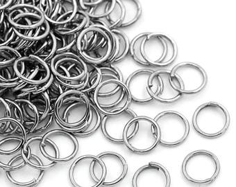 100 rings 6 x 0.7 mm open, round silver matte