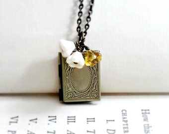 Book Lover Gift, Book Necklace, Book Locket, Graduation Gift, Gift for Teacher, Gift Book Pendant