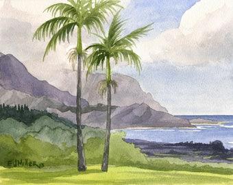 Hanalei Kauai Beach Art Print - Bali Hai from Princeville Kauai watercolor painting, Hawaii art, Hawaiian beach artwork, North Shore Hawaii