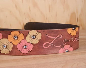 Floral Guitar Strap - Personalized with name and Poppy Flowers - Womens Guitar Strap for Acoustic or Electric Guitars - Pink and Mahogany