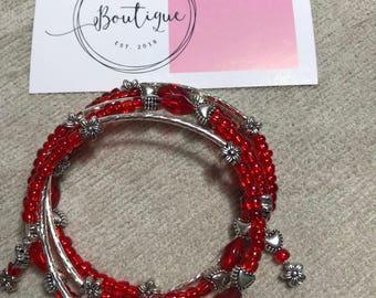 Hearts & Flowers Red Memory Wire Bracelet