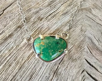 Green Turquoise Silver Pendant Necklace