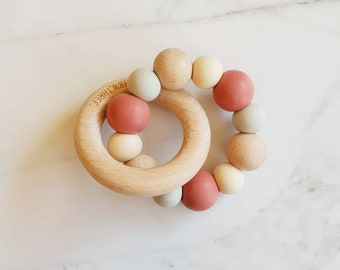 Silicone & Beech Wood Teether