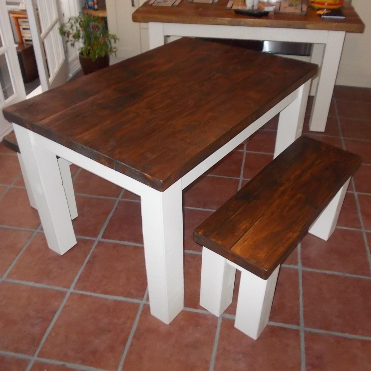 Rustic Kitchen Table With Benches That Can Slide: New Handmade Rustic Kitchen Table & Bench Set 009