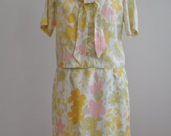 Beautiful handmade Floral 60's Two Piece Suit
