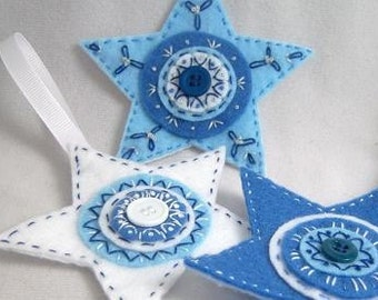 DIY Holiday decor Instant Download Pattern: Hand Embroidery Felt Star Ornaments Trio