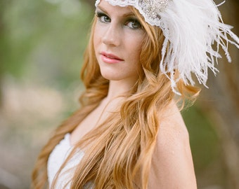 Flapper Bridal Cap Headpiece in Beaded Lace, Rhinestone Trim and Ostrich Feather