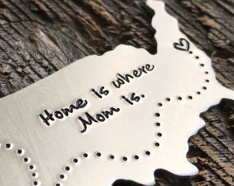 Mother's Day gift Mother's Day keychain Mother's Day jewelry hand stamped jewelry usa keychain long distance relationship gift for mom