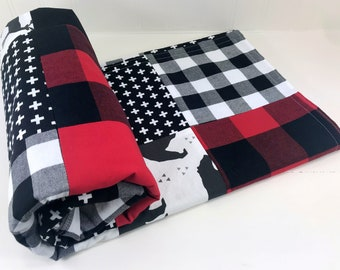 Baby Blanket Nursery Decor Minky Baby Blanket Baby Quilt Baby Boy Lumberjack Buffalo Plaid Red White Black Deer Bear Buffalo Check Woodland