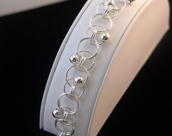 Trapped Ring Bracelet - Argentium Silver, Sterling Silver Seamless Beads, Soldered