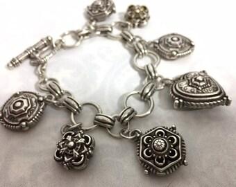 Vintage Silver Heart & Chunky Medallion Charm Bracelet