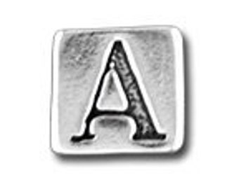 Sterling Silver LETTERS Block Bead
