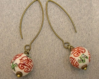 Vintage Chinese White Porcelain Red Eternity Shou Bead Green Dangle Drop Earrings,Antiqued Brass Kidney Ear Wire