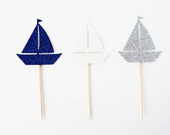 Sailboat Cupcake Toppers - Nautical Party Decor, Nautical Birthday Party, Bachelorette Party Decor, Nautical Baby Shower