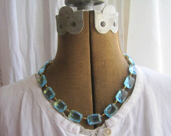 J. Crew necklace, aqua blue statement necklace, Anna Wintour necklace, georgian,  collet, Art Deco necklace, downton abbey.