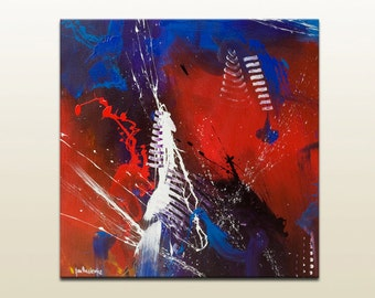 Abstract canvas art, abstract painting on canvas, Modern wall art, Original painting blue art Canvas wall art Blue painting by Rasko