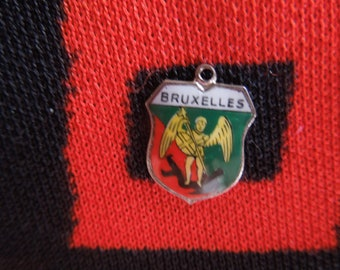 Enamel Bruxelles Charm Bruxelles Belgium Silver Tone Travel Shield Charm for Bracelet from Charmhuntress 05298