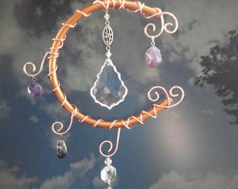 "Crystal Moon Sculpture, Garden Art, Home Decor, Copper, Mobile, Wall Hanging, Window Hanging, Porch Hanging, Metaphysical, Art, ""Moon Rocks"""