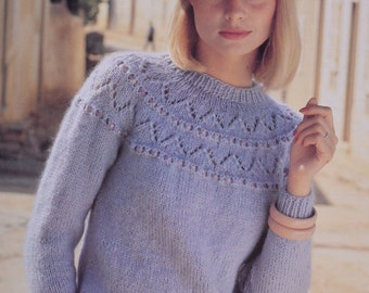 PDF lady's sweater jumper sizes 30 inch to 42 inch vintage knitting pattern pdf download pattern only pdf 1980s