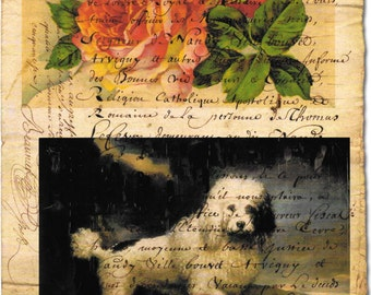 Poodle vintage style French script roses Collage*Exclusively ours*Dog*Dogs*Quilt art fabric block*Quilts,Pillows,Sachets,Frame 3.5 x5 inch