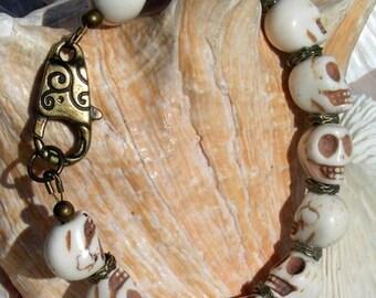 Antique Brass Skull Bracelet,Jewelry