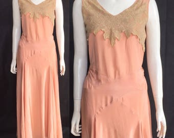 Early 1930s evening gown with Brussels lace