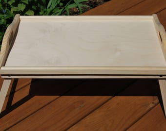 Wooden Breakfast Food Serving Lap Tray With Folding Legs For Bed for Decoupage