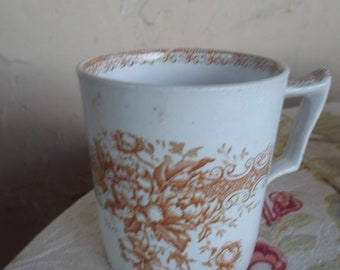 "Rare Antique Ironstone Brown Transferware Coffee Cup/Mug By F.J.Emery ""Sherwood"" Burslem England"