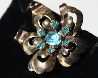 Vintage Leo Glass Pendant or Brooch Pin Sterling Silver with Blue Rhinestones Something Blue Vintage Designer  Vintage Wedding Jewelry