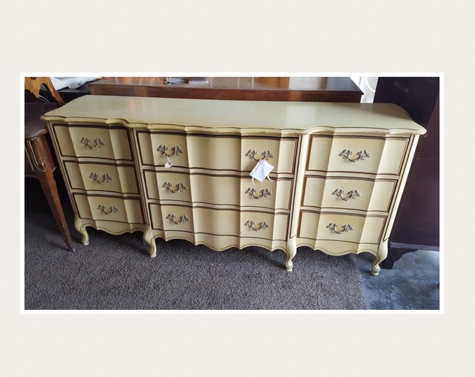 PICK UP ONLY, Vintage French Provincial Shabby Chic Triple Dresser, chest, bureau, french country bedroom, france, rustic, farmhouse