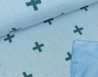 Wellnessfleece crosses pale jeans blue mottled (15.00 EUR/Meter)